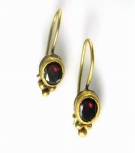 Handmade Red Garnet solitaire earrings
