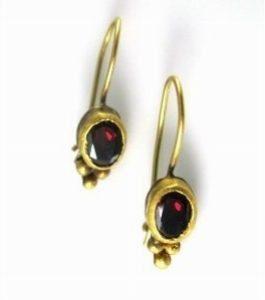 Handmade Red Garnet solitaire earrings
