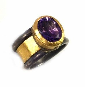 Hand made bezel Amethyst Solitaire ring