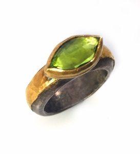 Handmade Peridot solitaire ring