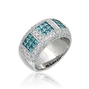 Fancy blue diamonds & white diamonds ring model Jean