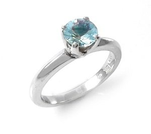 Aquamarine solitaire ring model Victoria