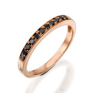 Black diamonds rose gold band ring model Polly