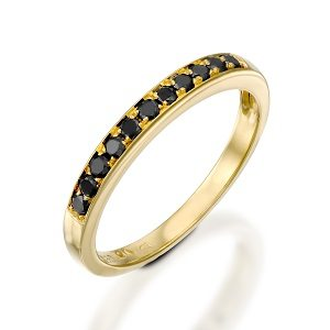 Black diamonds yellow gold band ring model Polly