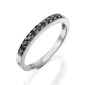 Black diamonds white gold band ring model Polly
