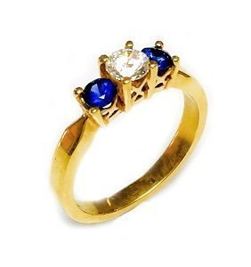Diamond & Blue Sapphires ring model Penelope