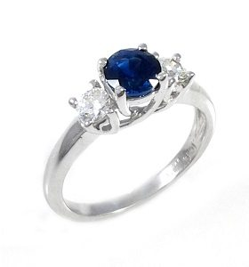 Blue Sapphire & diamonds ring model Tracee
