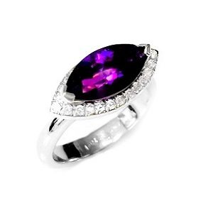 Amethyst & diamonds ring model Monica