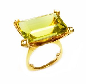 Green Yellow Quartz & diamonds ring model Abigail