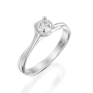 Diamond solitaire engagement white gold ring model Adriana