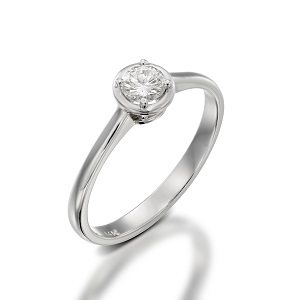 Diamond solitaire engagement white gold ring model Ariadne
