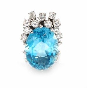 Blue Topaz and Diamonds cocktail ring