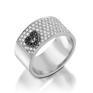 Black & white diamonds ring floating heart