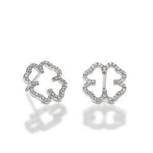 Diamonds clover earrings white gold