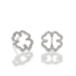 Diamonds clover earrings white gold