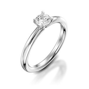 Diamond solitaire engagement white gold ring model Tamar