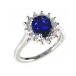 Blue Sapphire & diamonds Diana ring 1.85 carats