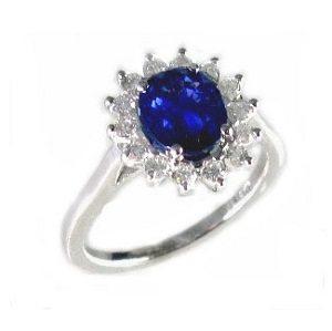 Blue Sapphire & diamonds Diana ring 1.65 carats