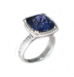 Blue Sapphire & diamonds model Bertha