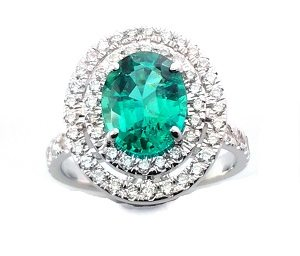 Emerald with diamonds ring model Alma