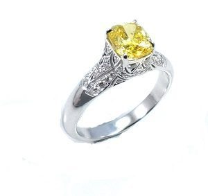 Yellow diamond & white diamonds ring model Marilyn