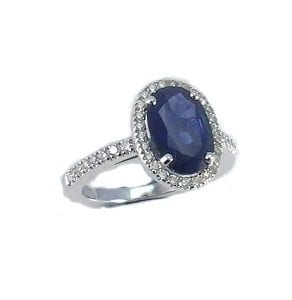 Blue Sapphire & diamonds ring model Leyla 4 carats