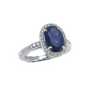 Blue Sapphire & diamonds ring model Leyla 2.25 carats