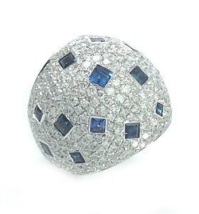 Blue Sapphires & diamonds dome ring model Dona