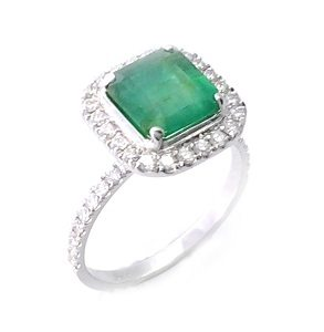 Emerald with diamonds ring model Odette