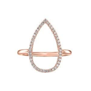 Diamonds drop rose gold ring