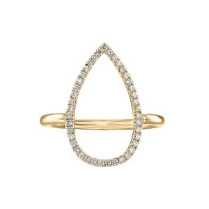 Diamonds drop yellow gold ring