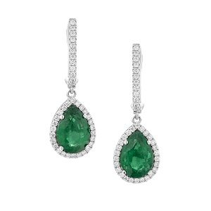Emeralds halo diamonds drop earrings model Julia