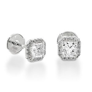 Radiant cut diamond halo earrings model Tal-Or