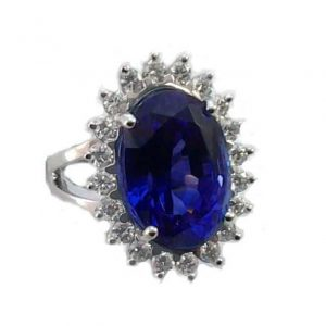 Tanzanite and diamonds model flower