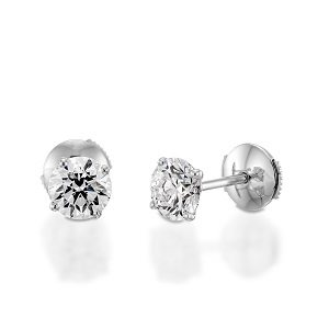 Diamonds stud white gold earrings model Re