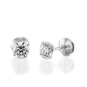 Diamonds stud white gold earrings model Re