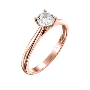 Diamond solitaire engagement rose gold ring model Cathedral