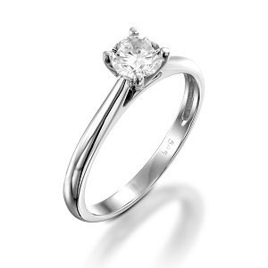Diamond solitaire engagement white gold ring model Cathedral
