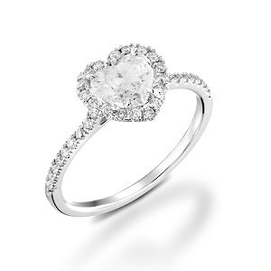 Diamond Heart shape & diamonds ring model Mila