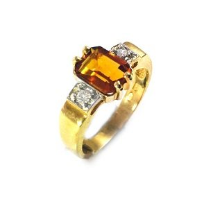 Citrine with diamonds ring model Duke