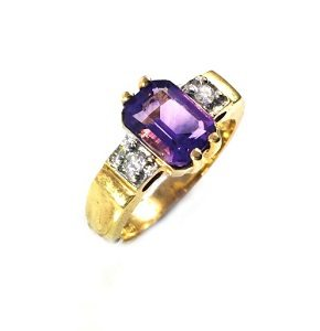 Amethyst with diamonds ring model Duke