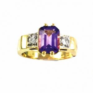 Amethyst with diamonds ring