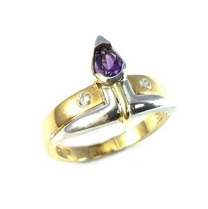 Amethyst with diamonds ring model Lady