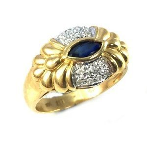 Blue Sapphire with diamonds ring model Baroness