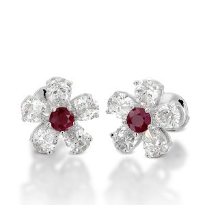 Ruby diamonds flower stud earrings model almond flower