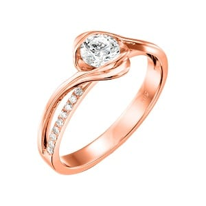 Diamonds engagement rose gold ring model Edeline