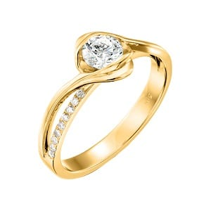 Diamonds engagement yellow gold ring model Edeline