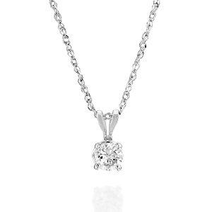 Diamond solitaire white gold pendant Mackenzie