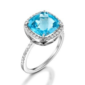 Blue Topaz & diamonds ring model Sarah