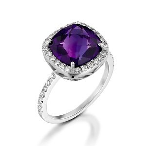Amethyst & diamonds ring model Sarah